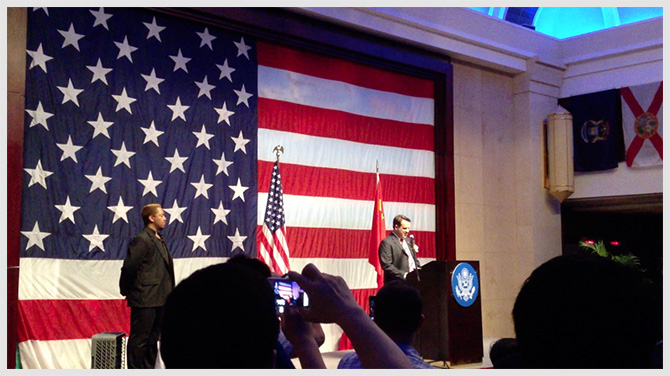 Zak Malik On Stage With The Consul General 3rd Corner Studios, An Official Sponsor of The US State Department