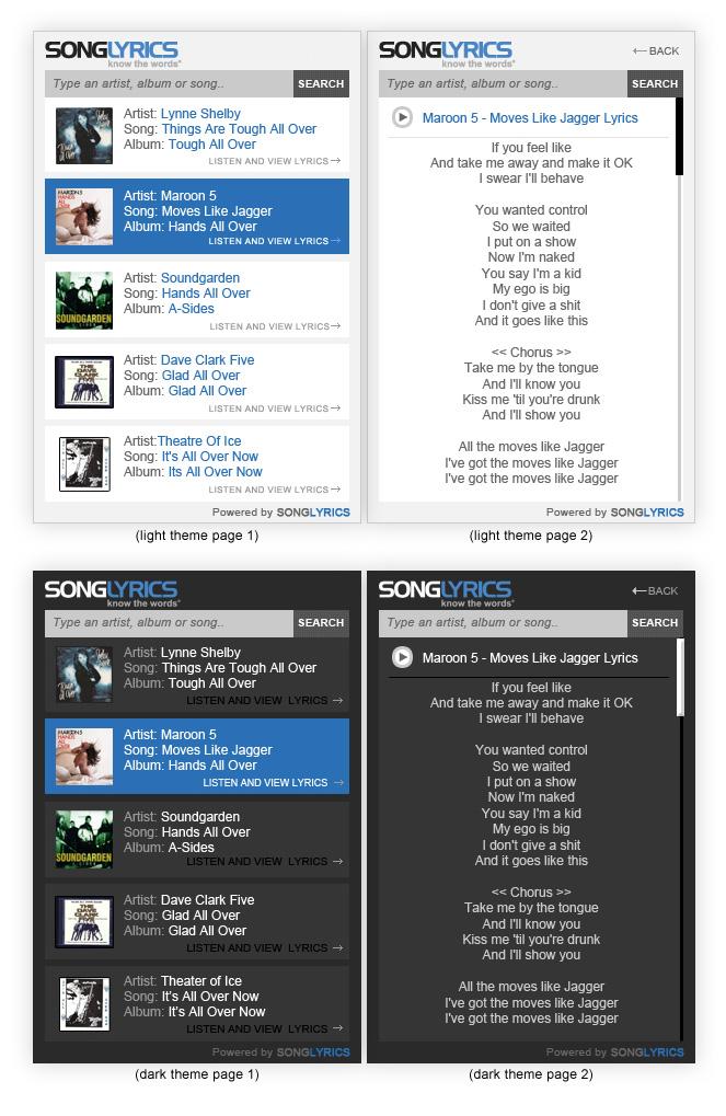 widgets Redesigning SongLyrics.com